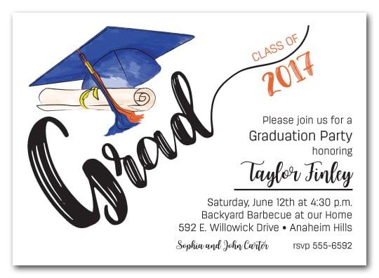 Blue Orange Tassel on Blue Grad Cap Graduation Party Invitations