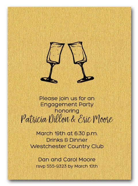 let s toast wine glasses on shimmery gold party invitations