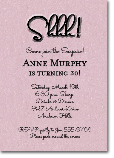 shimmery pink  u0026 39 shhh  u0026 39  surprise party invitations
