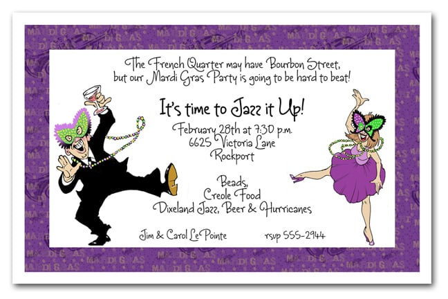 Mardi Gras Dancing Couple Party Invitation Mardi Gras Invitations