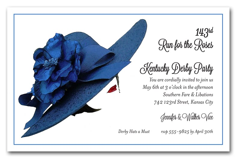 Kentucky derby party invitations derby invitations kentucky derby party invitations floral blue derby hat stopboris Image collections