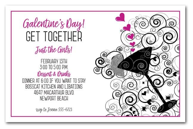 Hot Pink Hearts Swirls Cocktail Invitations
