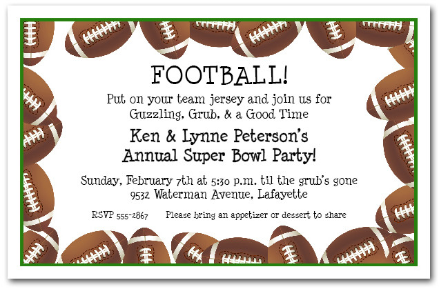 Football Border Super Bowl Party Invitations