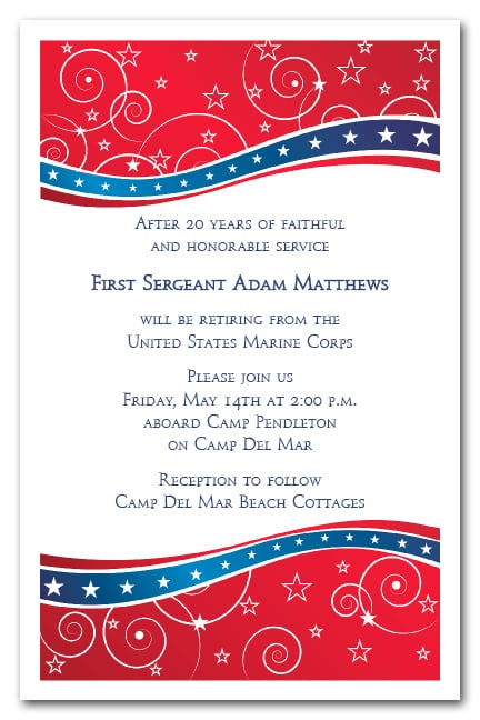 red and blue swirls stars invitations 4th of july military