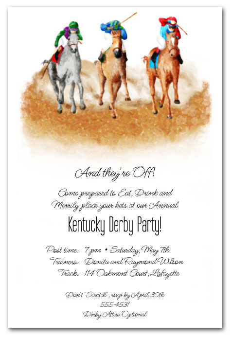 the finish horse racing invitations  kentucky derby party