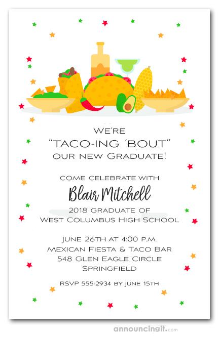 taco bar mexican fiesta graduation party invitations