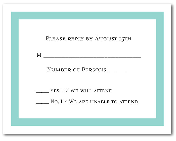 tiffany blue border rsvp cards  reply cards  response cards