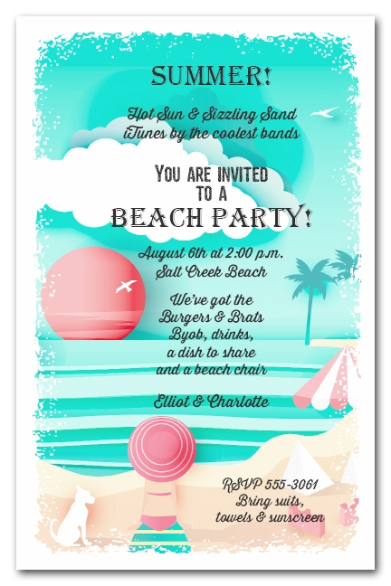 View On The Beach Summer Party Invitations