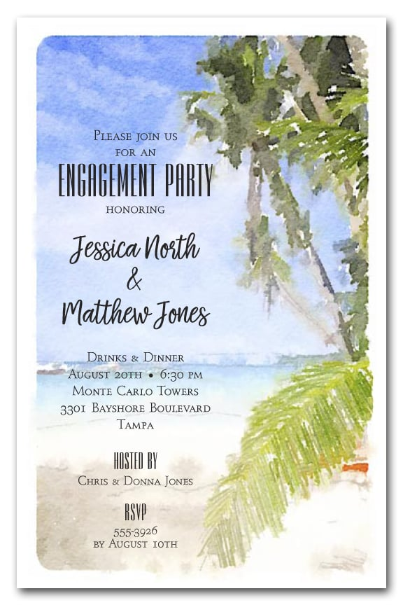 Watercolor Beach Party Invitations