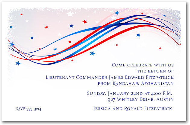 patriotic wave and stars event invitations