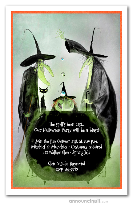 Witchy Trio Halloween Party Invitations Birthday