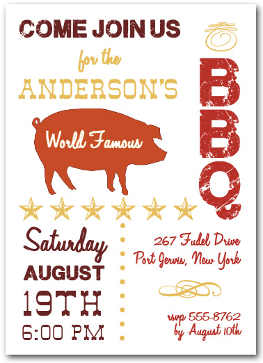 World Famous Pork BBQ Party Invitations