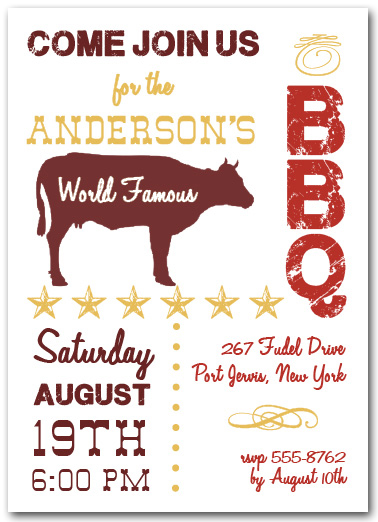 world famous beef bbq party invitations