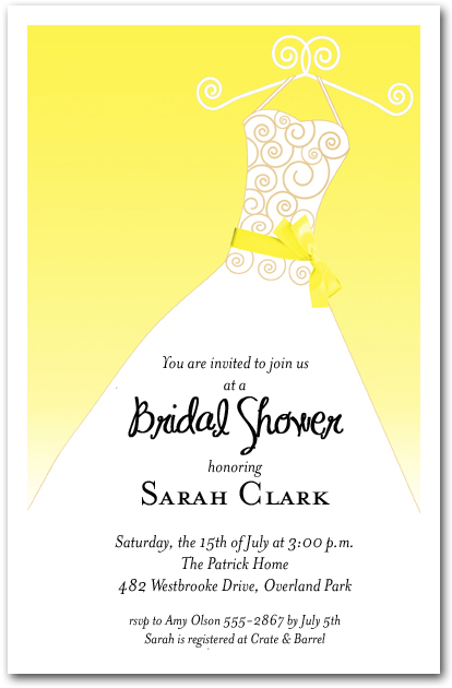 yellow ribbon sash on white gown invitations bridal shower invitations birthday invitations