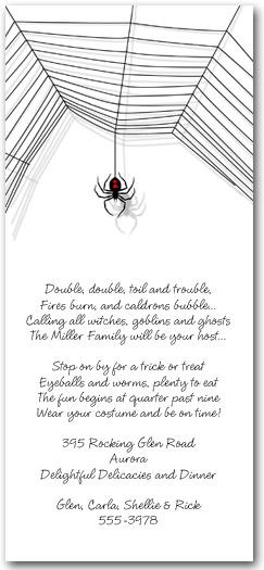 Black Widow Spider Halloween Invitations