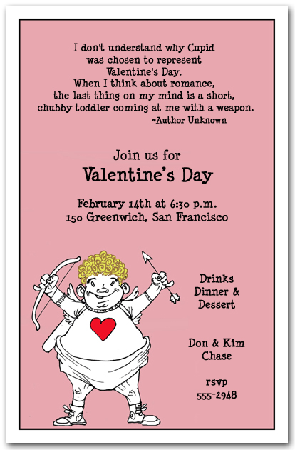 Whimsical Cupid Valentines Day Party Invitation