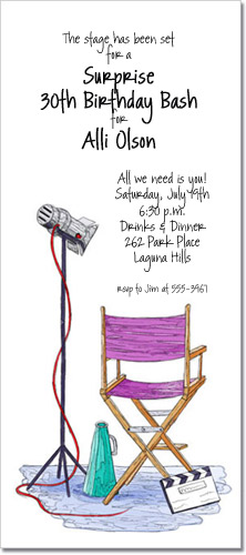 Director Chair Party Invitations Hollywood Invites Movie