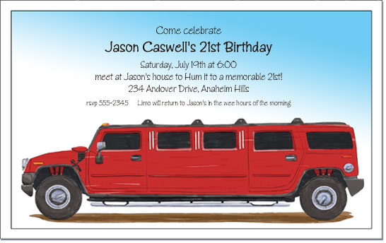 Red hummer limo invitation limo party invitation red hummer limo stopboris Image collections