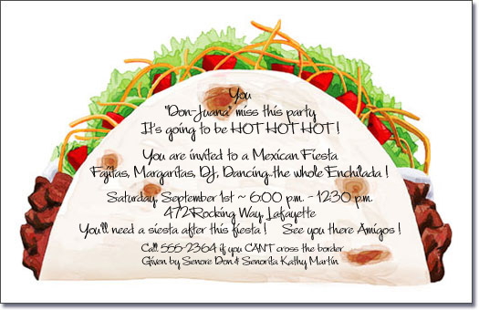 Taco Party Invitations, Mexican Food, Cinco de Mayo Invite