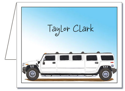 Note Cards: White Hummer Limo