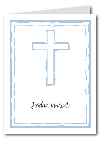Abstract Cross Blue Thank You Notes
