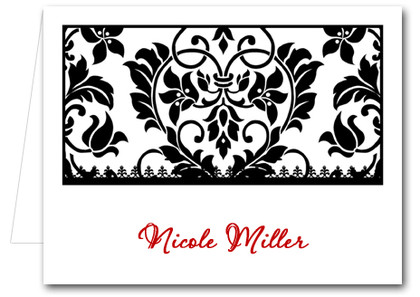 Note Cards: Black Damask