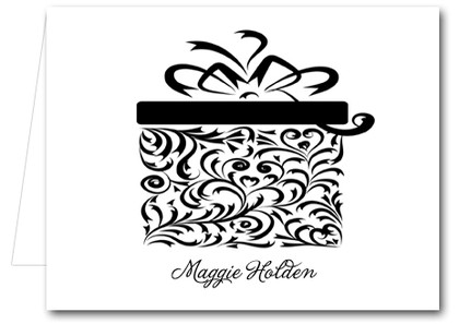 Note Cards: Black Filigree Gift Box