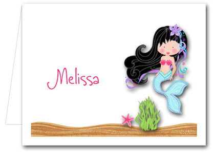 Note Cards: Black Hair Mermaid