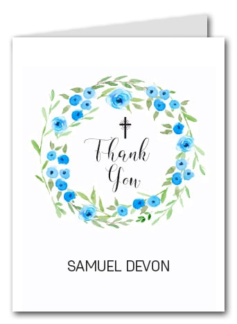 Blue Blooms Wreath Thank You Notes