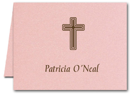 Note Cards: Brown Cross Pink Shimmer