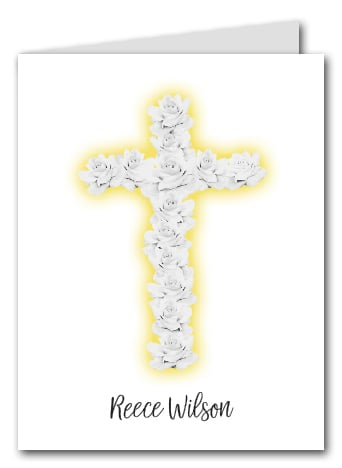Note Cards: Rose Cross on Yellow