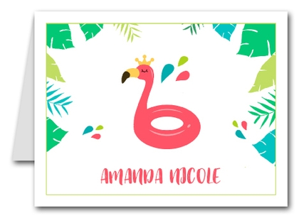 Note Cards: Flamingo Pool Float