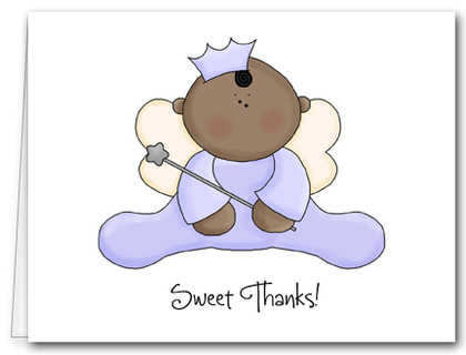Note Cards: Ethnic Angel Baby Lavender