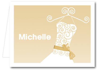 Note Cards: Champagne Ribboned Dress