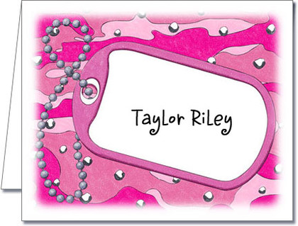 Note Cards: Dog Tag on Pink Camo