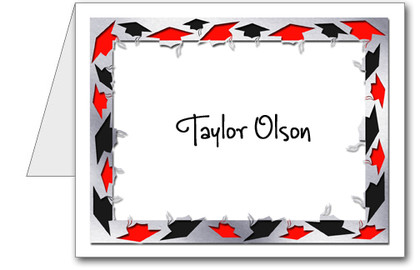 Note Cards: Grad Hats Black & Red