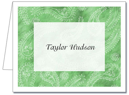 Note Cards: Paisley Light Green
