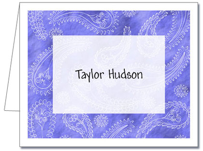 Note Cards: Paisley Light Blue