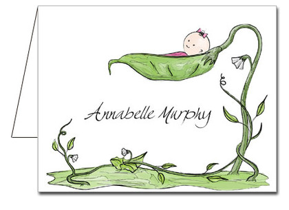 Note Cards: Peapod Baby Girl