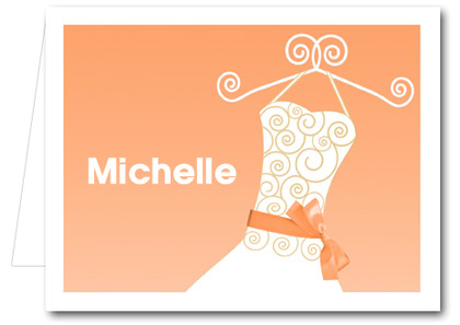 Note Cards: Tangerine Ribboned Dress