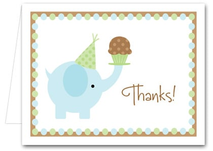 Note Cards: Blue Elephant & Cupcake