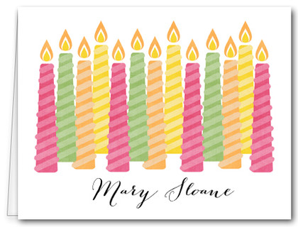 Note Cards: Multi Candles Pink