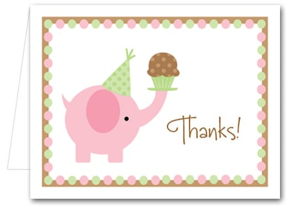 Note Cards: Pink Elephant & Cupcake