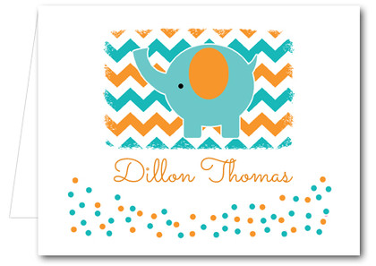 Note Cards: Teal Elephant Chevron