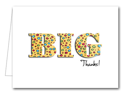 Note Cards: BIG Thanks Dots on Yellow