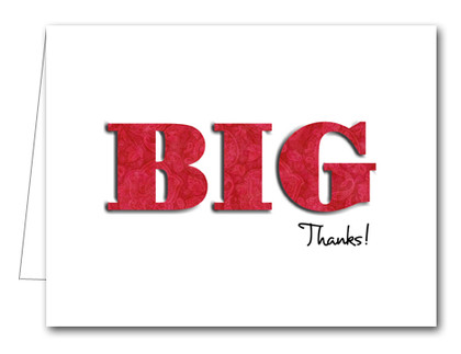 Note Cards: BIG Thanks Paisley Red