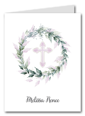 Sage Wreath Pink Cross Thank You Notes