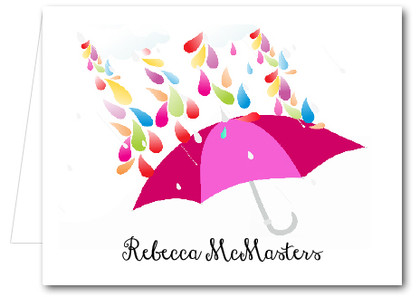 Note Cards: Raindrops Pink Umbrella