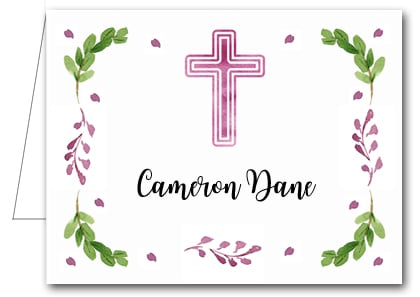 Note Cards: Pink Cross, Leaves & Buds