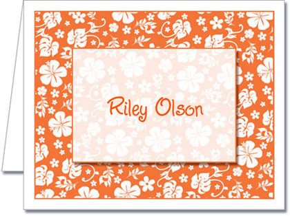 Note Cards: Orange Hawaiian Floral